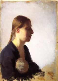 Anna Ancher, Young Mother with Her Child, Private collection, 1890-1895, Height: 46.8 cm (18.43 in.), Width: 34.4 cm (13.54 in.), oil on canvas , The Athenaeum