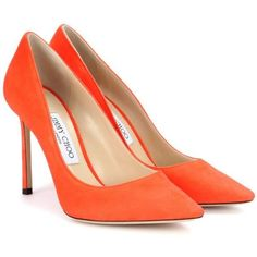 Jimmy Choo Romy 100 Suede Pumps ($545) ❤ liked on Polyvore featuring shoes, pumps, heels, orange, heel pump, jimmy choo, suede shoes, orange heels shoes and suede pumps