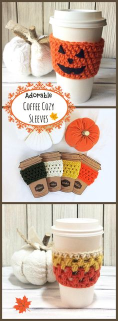 Adorable Reusable Crocheted Coffee/Tea Cozy.  You can just feel the chill in the air as you wrap your hands around this warm beverage drink. The perfect way to welcome fall!  #Coffeelover #Coffeegift  #Coffee #Tea #Crochet #Fall #Autumn #Affiliate