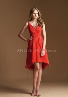 High Low Chiffon V Neck A line Sleeveless Natural Waist Bridesmaid Gown