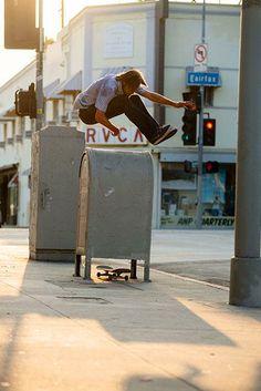 http://www.nike.com/us/en_us/lp/skateboarding/ Where raw power meets timeless style, Nike Skateboarding pro Alex Olson blasts a huge hippie jump just off Fairfax. Photo: Colen