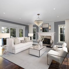 Elegant transitional white and grey living room decor Majestic grey and white transitional living room decor white sofa Luxury Living Room, Elegant Living Room Decor, Transitional Living Rooms, 3d Interior Design, House Interior, Living Room Grey, Elegant Living, Living Room Decor Gray, Living Decor