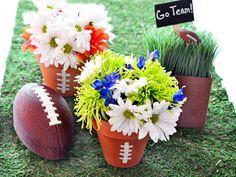 Terra Cotta Pots Make Adorable Football Centerpieces! Perfect For Your Super Bowl Party --> http://www.hgtvgardens.com/entertaining/super-bowl-centerpiece-ideas?soc=pinterest