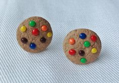 M Chocolate Candies Cookie Polymer Clay Stud by TheDoctorsOrders
