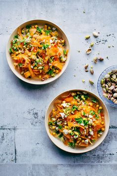 Moroccan carrot salad with chickpeas, pistachio and spicy dressing