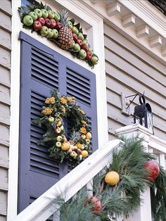 Adding a pineapple to your door decorations proclaims hospitality to all who enter: http://www.bhg.com/christmas/wreaths/holiday-wreaths-of-colonial-williamsburg/?socsrc=bhgpin120613longstandingtradition&page=1