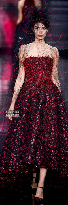 Stunning Red and Black Gown - Armani Privé Haute Couture Fall Winter 2014-15