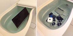 Woman Throws Cheating Boyfriends Apple Products In Bathtub