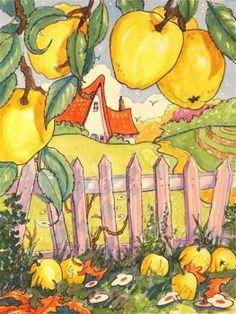 "Alida Akers - ""Golden Harvest Storybook Cottage Series"" - Original Fine Art for Sale - ©Alida Akers Storybook Cottage, Cottage Art, Watercolor Illustration, Watercolor Art, Whimsical Art, Illustrators, Folk Art, Fantasy Art, Drawings"