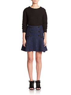 Proenza Schouler - Cropped Mixed Cable-Knit Wool Sweater