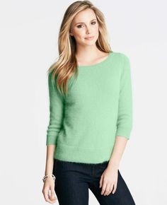 Fabulous Creme de Menthe Angora Blend Sweater - so cute and snuggly!