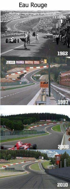 Spa GP Circuit The descent to Eau Rouge followed by the steep rise of the Raidillon. How this most famous corner evolved over the decades.