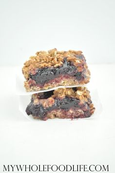 Delicious Blueberry Crumb Bars that are healthy enough for breakfast! Made from oat flour and blueberry chia jam. Vegan and gluten free.