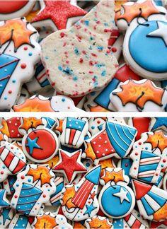 4th of July Cookies - Patriotic cookies w red, white & blue sprinkles in the cookie dough...- DIY Step by Step Photo Tutorial...