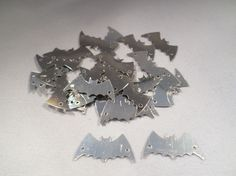 30 x Craft Sequins - Halloween - Bat - 22mm - Silver