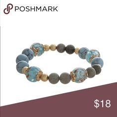 Blue and Gold beaded stretch bracelet Stretchy boho beaded blue, gray, and gold bracelet Jewelry Bracelets