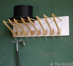 Stock & Hat DIY Coat Hanger Coat Rack-i love this idea! Hanger Hooks, Coat Hanger, Coat Racks, Hook Rack, Wall Hooks, Diy Hooks, Wall Hanger, Diy Hat Rack, Creation Deco