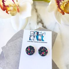Cute floral stud earrings. Team them with a dress or a blazer for a sweet or serious look. Find more women's fashion accessories at http://www.etsy.com/shop/lovebirdaccessories #earringsstuds #studearrings #earrings #statementjewellery #handmadejewelry
