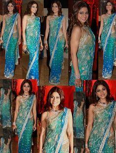 Shamita Shetty Blue Shaded Saree