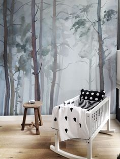 Wonderful forest, nature-inspired  removable wallpaper. Mysterious nursery wall, moves imagination and creates nice space to grow up in. #peelandstick #wallmural #forest #dreams #dreamy #nurserydecor #nurseryideas #vintage #nursery