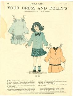 Child Life Magazine Paper Doll Your Dress Dolly's Sept 1928 Polly Chiquet | eBay