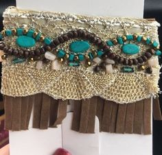 Bling Beaded Brown Fringe Velcro Bracelet