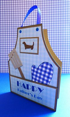 Father's Day BBQ Apron Card.  Cricut Country Life and Paisley Cartridges.