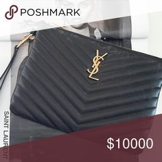OOOHAAAH YSL CLUTCH/WRISTLET NEW! Box, sleeper, care and authenticity cards. Will consider trading...ask if you're interested. Yves Saint Laurent Bags Clutches & Wristlets