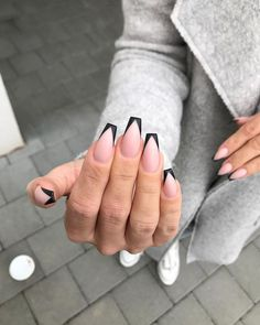 Hollywood Stars Black Nail Design Page 7 of 40 # nailsart . - Hollywood Stars Black Nail Design Page 7 of 40 # nailsart - Black Nail Designs, Acrylic Nail Designs, Aycrlic Nails, Hair And Nails, Nagel Hacks, Best Acrylic Nails, Black Acrylic Nails, Fire Nails, French Tip Nails
