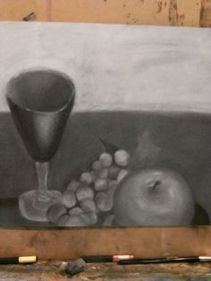 A drawing in charcoal Tess aged 11