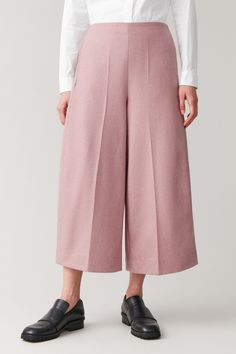 ROUNDED WOOL CULOTTES - Pink - Culottes - COS Pink Culottes, Trousers Women, Wide Leg, Cashmere, Give It To Me, Women Wear, Legs, Wool, How To Wear