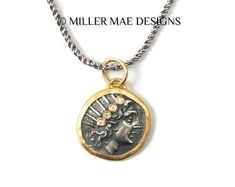 Gold and Silver Helios Greek Sun God Coin Necklace Gold Coin Necklace, Small Necklace, Greek Sun God, Antique Coins, Solid Gold Jewelry, Gold Filled Chain, Gold Coins, Silver Diamonds, Necklace Lengths