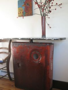 Side Table Reclaimed Farm Metal Tractor Hood Farm by TheSteelFork,