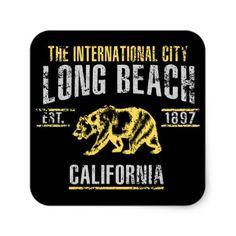 #Long Beach Square Sticker - #beach #travel #beachlife