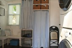 White Cottage Co. Laundry Room - Curtains and Bench