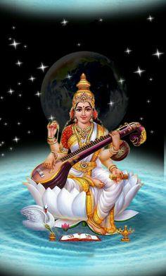 Shiva Hindu, Shiva Art, Shiva Shakti, Hindu Deities, Saraswati Goddess, Durga, Saraswati Mata, Saraswati Photo, Saraswathi Devi