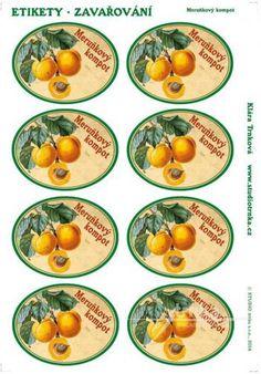 Samolepicí etikety, zavařování, meruňkový kompot