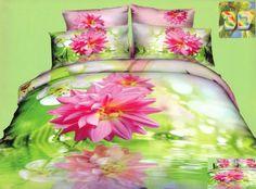 Pościel z bawełny w kolorze zielonym z różowym kwiatem