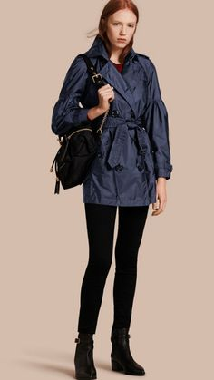 Navy Packaway Trench Coat with Bell Sleeves 1