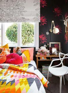 color palette coral green dining area brass lighting large scale art interior decor. Black Bedroom Furniture Sets. Home Design Ideas
