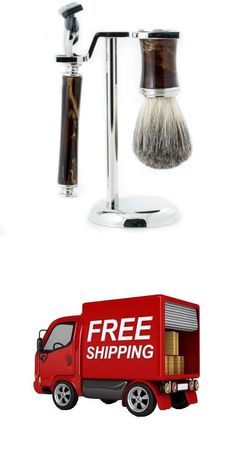 Shaving Brushes and Mugs: Brush With Marbleized Brown Enamel On Chrome Stand Fusion Razor And Pure Badger -> BUY IT NOW ONLY: $58.23 on eBay!