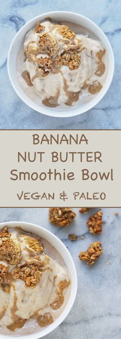 Banana Nut Butter Smoothie Bowl This vegan and paleo smoothie bowl is packed with healthy fat and tastes like you're eating a decadent dessert for breakfast Vegan Smoothies, Breakfast Smoothies, Paleo Breakfast, Breakfast Bowls, Paleo Smoothie Recipes, Detox Breakfast, Smoothie Detox, Paleo Recipes, Paleo Dessert