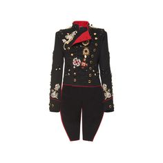 Dolce & Gabbana Embroidered Military Jacket ($24,500) ❤ liked on Polyvore featuring outerwear, jackets, double-breasted jacket, asymmetrical jacket, dolce gabbana jacket, long sleeve jacket and oversized jacket