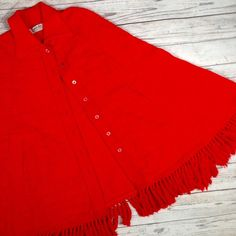 VTG 1950s Red Poncho cape sweater bow CUDDLE KNIT one sz S M L fringe womens  | eBay