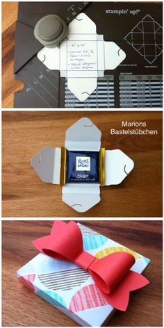 Marions Bastelstübchen: Tutorial: Mini Rittersport packaging with the punching and folding board for present bins (Diy Paper Envelopes) Diy Gift Box, Diy Box, Diy Gifts, Gift Boxes, Gift Box Design, Diy Design, Design Tutorials, Design Ideas, Diy Paper