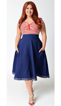 Unique Vintage Plus Size 1940s Navy Blue High Waist Hoover Swing Skirt