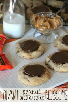 "Giant Peanut Butter Blossoms!  A 4"" peanut butter cookie with a full sized Reese's!"