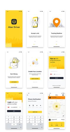 Driver Booking UI Kit for Taxi by hoangpts on Creative Market - UI Design Board Ios App Design, Mobile App Design, Android App Design, Web Mobile, Mobile App Ui, Logo Design, Interface Design, Site Design, Flat Design