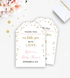 Editable Baby Shower Thank You Favor Gift Tags - Twinkle Twinkle Little Star - Instant Download Printable