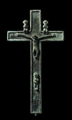 Africa | Crucifix from the Bakongo people of DR Congo | Brass with patina
